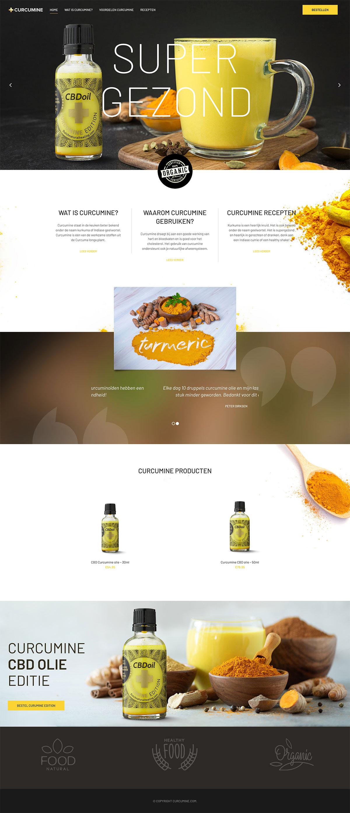 Curcumine webshop design and development